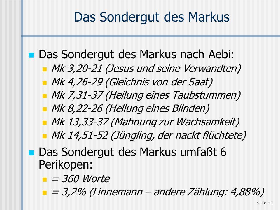 Das Sondergut des Markus
