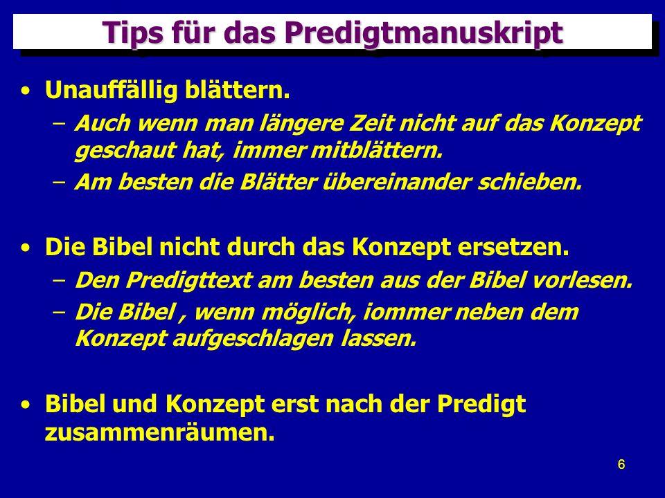 Tips für das Predigtmanuskript