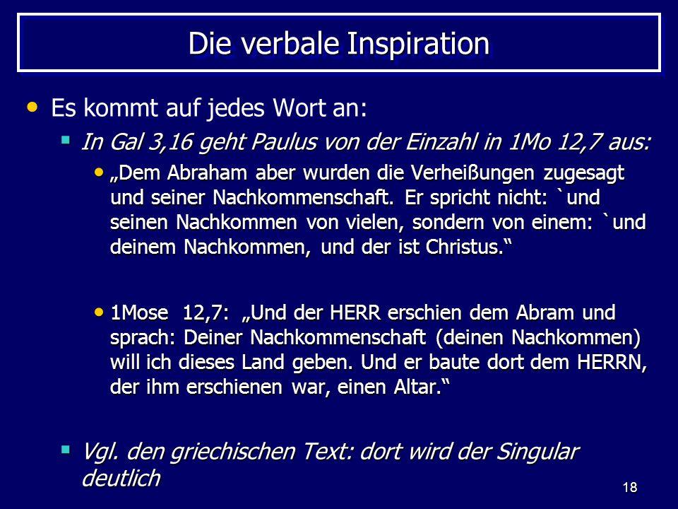 Die verbale Inspiration