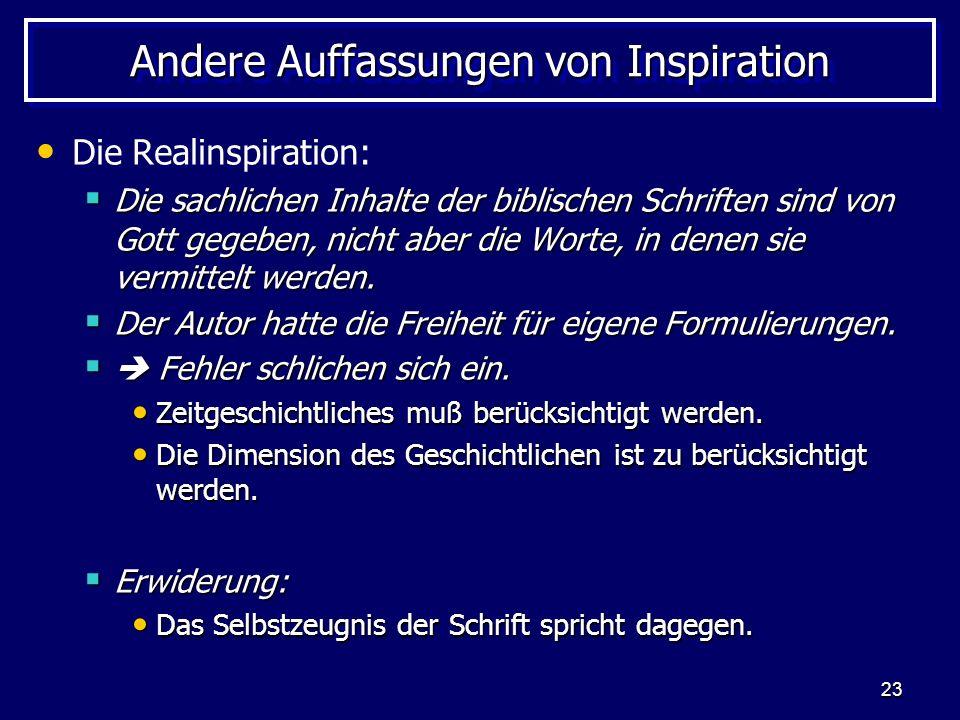 Andere Auffassungen von Inspiration