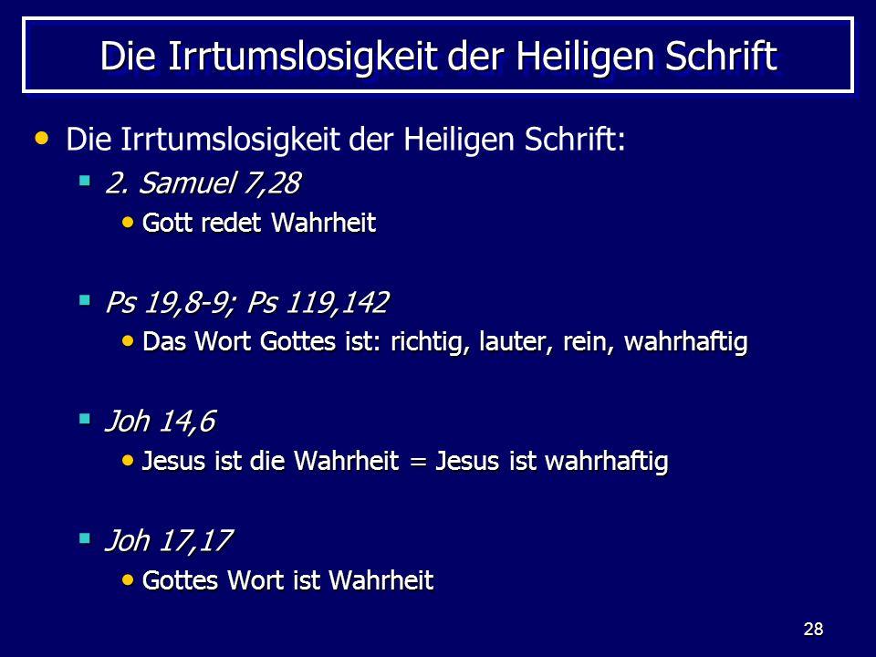 Die Irrtumslosigkeit der Heiligen Schrift