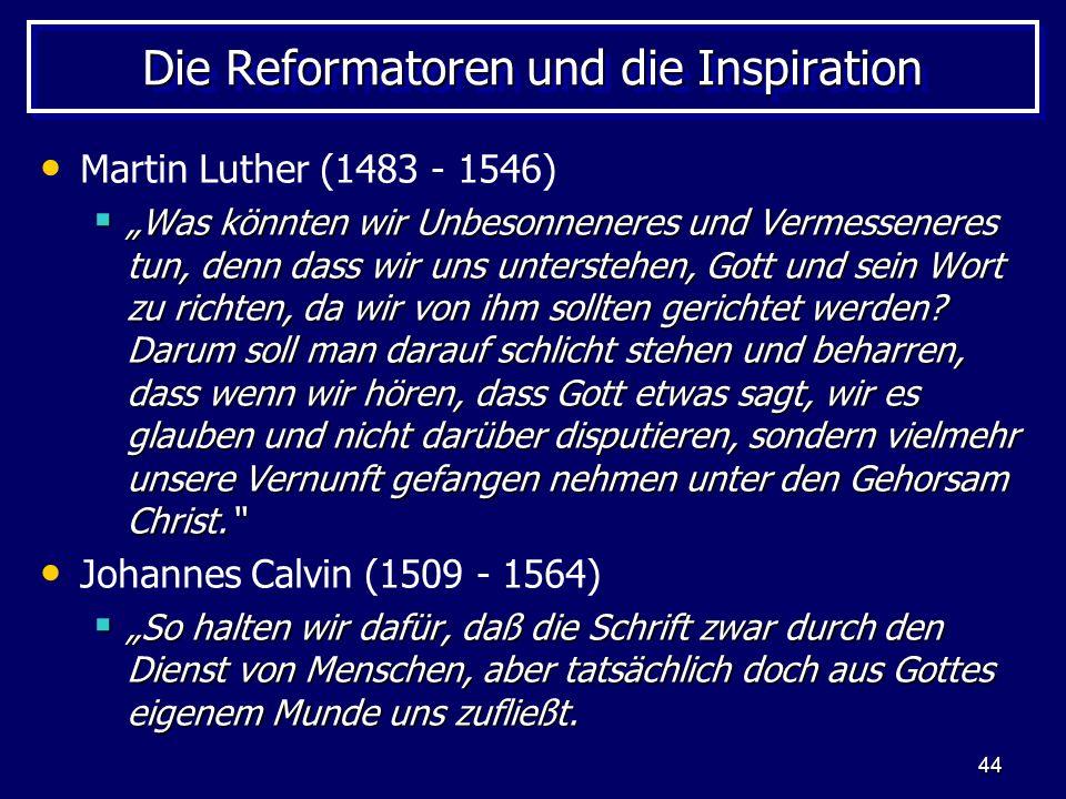 Die Reformatoren und die Inspiration