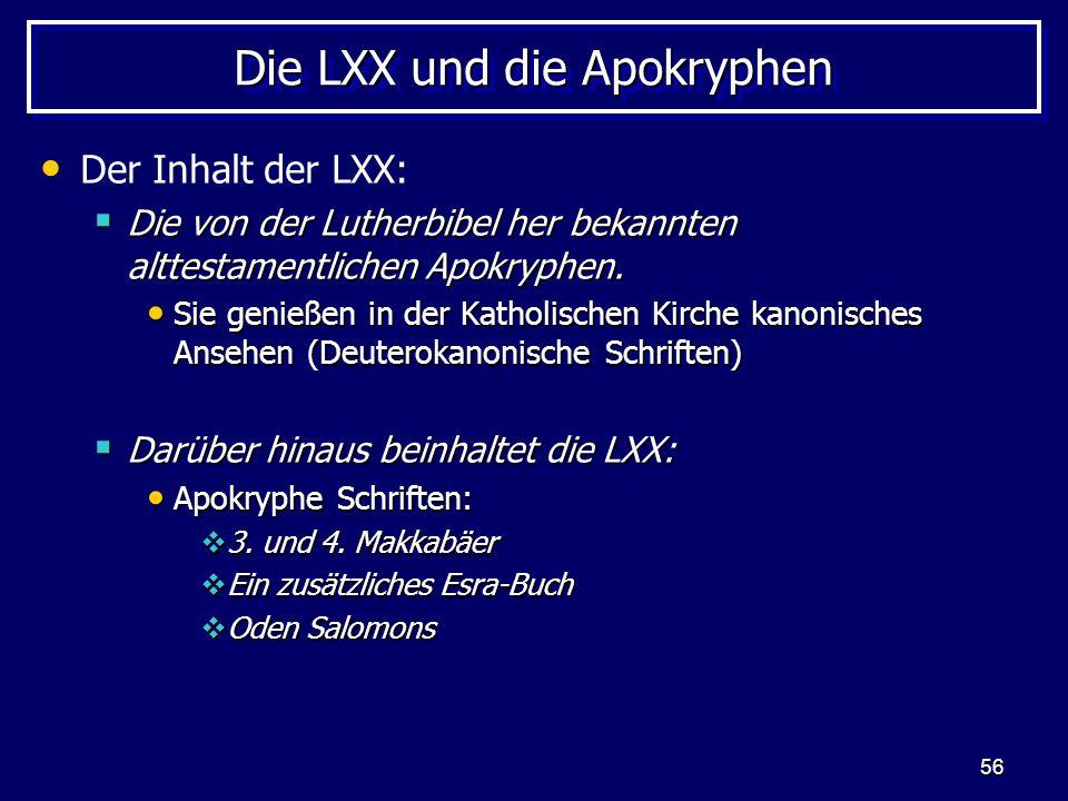 Die LXX und die Apokryphen