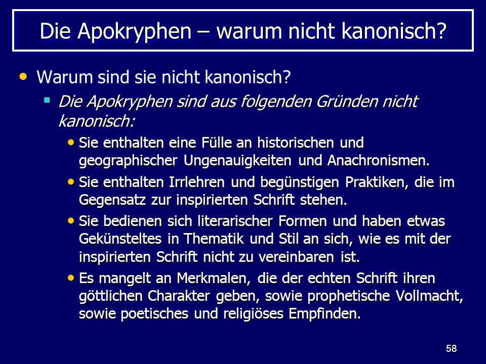 Die Apokryphen – warum nicht kanonisch