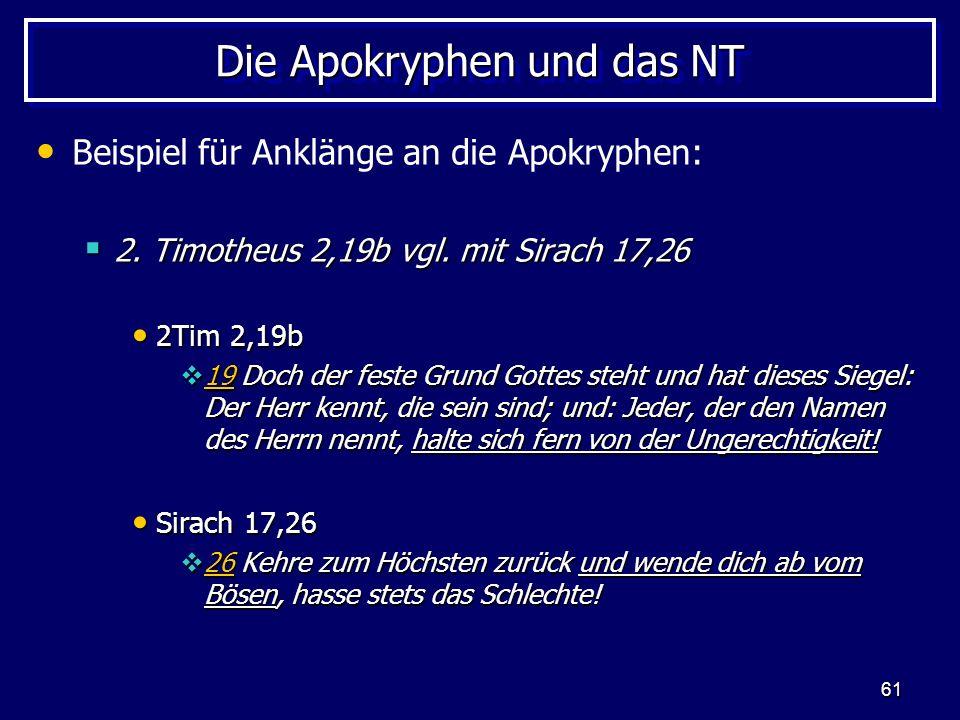 Die Apokryphen und das NT