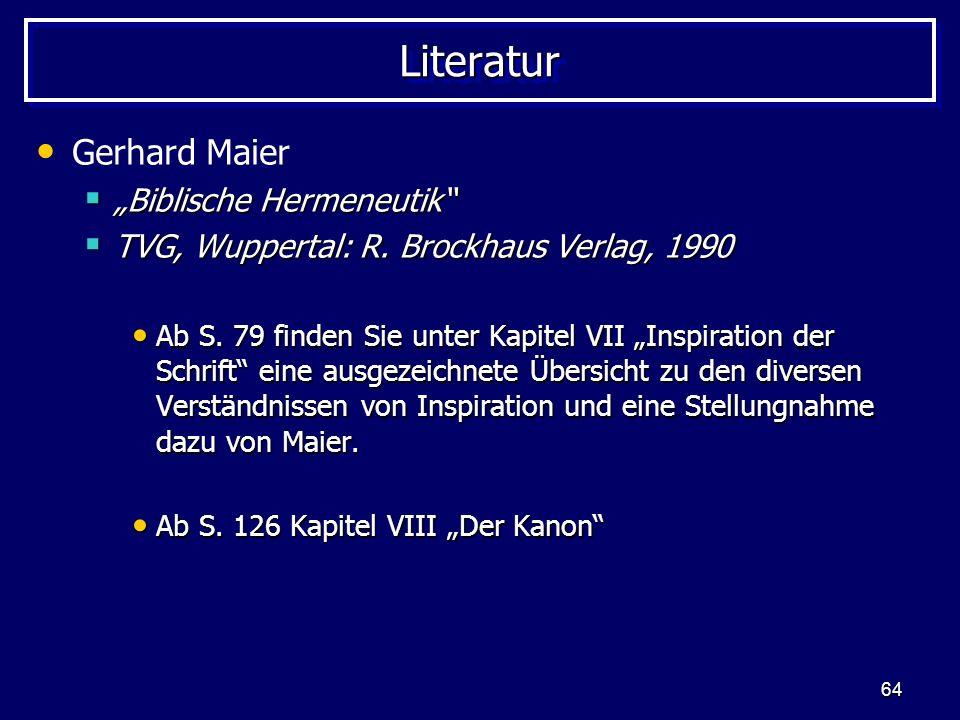 "Literatur Gerhard Maier ""Biblische Hermeneutik"