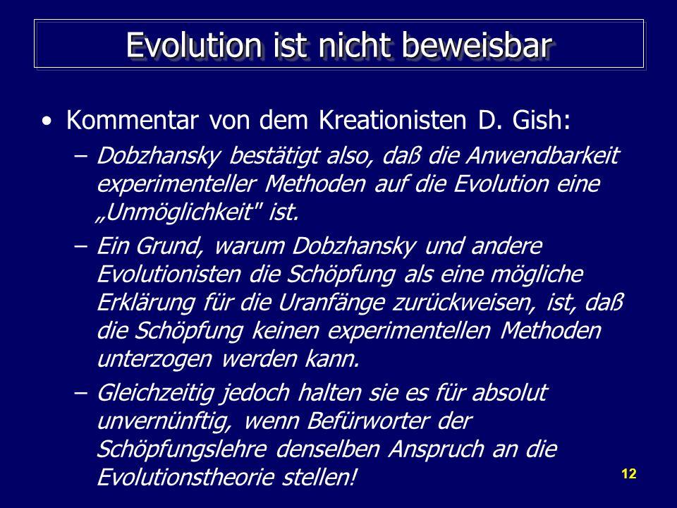 Evolution ist nicht beweisbar
