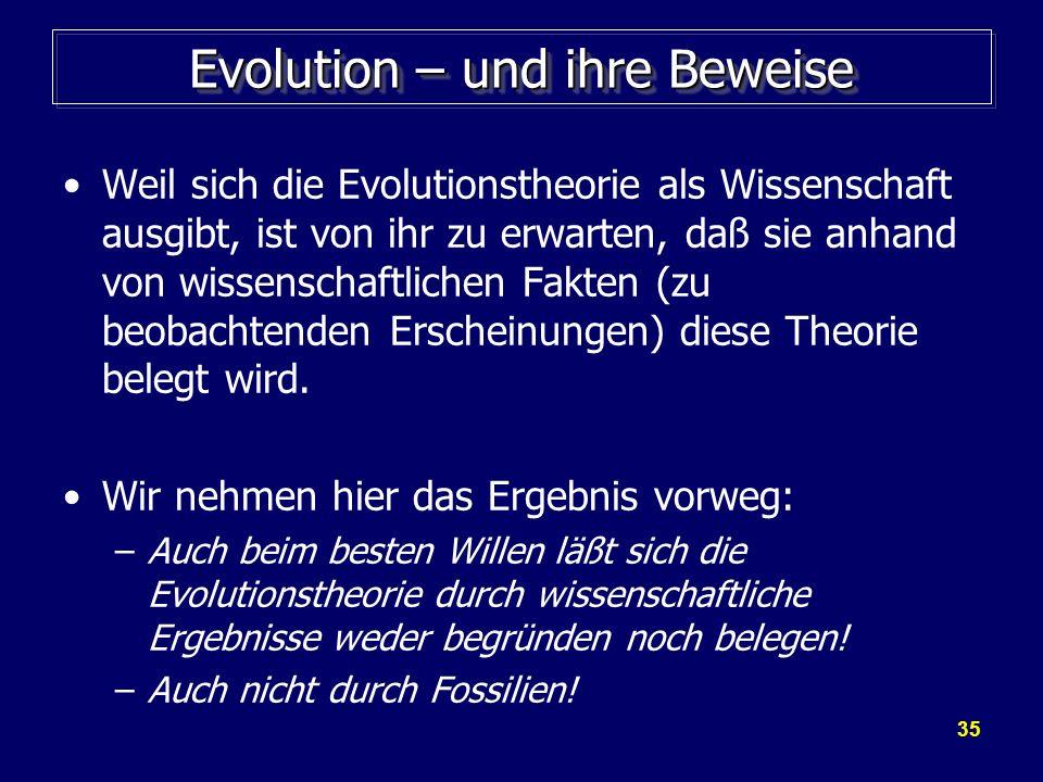 Evolution – und ihre Beweise