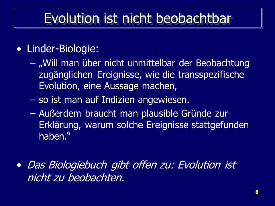 Evolution ist nicht beobachtbar