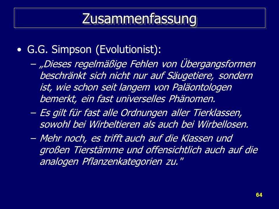 Zusammenfassung G.G. Simpson (Evolutionist):
