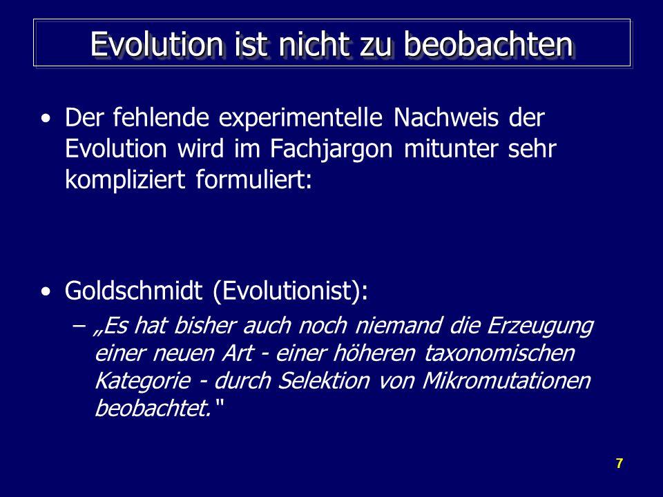 Evolution ist nicht zu beobachten