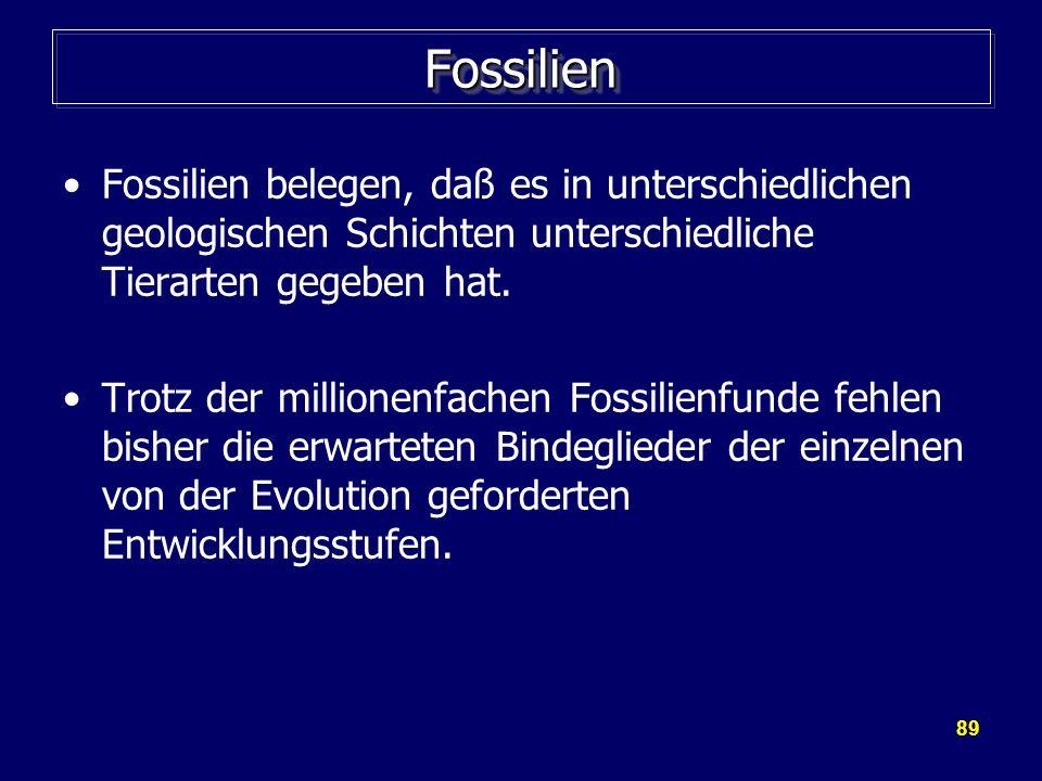 FossilienFossilien belegen, daß es in unterschiedlichen geologischen Schichten unterschiedliche Tierarten gegeben hat.