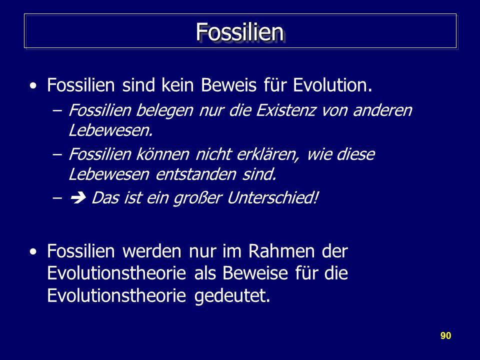 Fossilien Fossilien sind kein Beweis für Evolution.