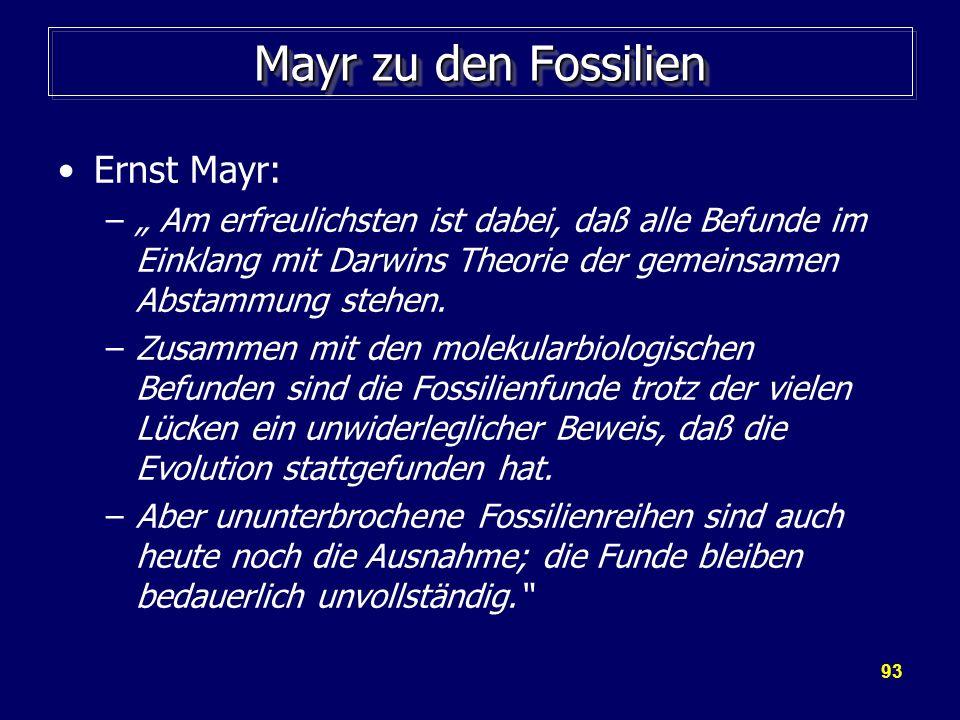 Mayr zu den Fossilien Ernst Mayr: