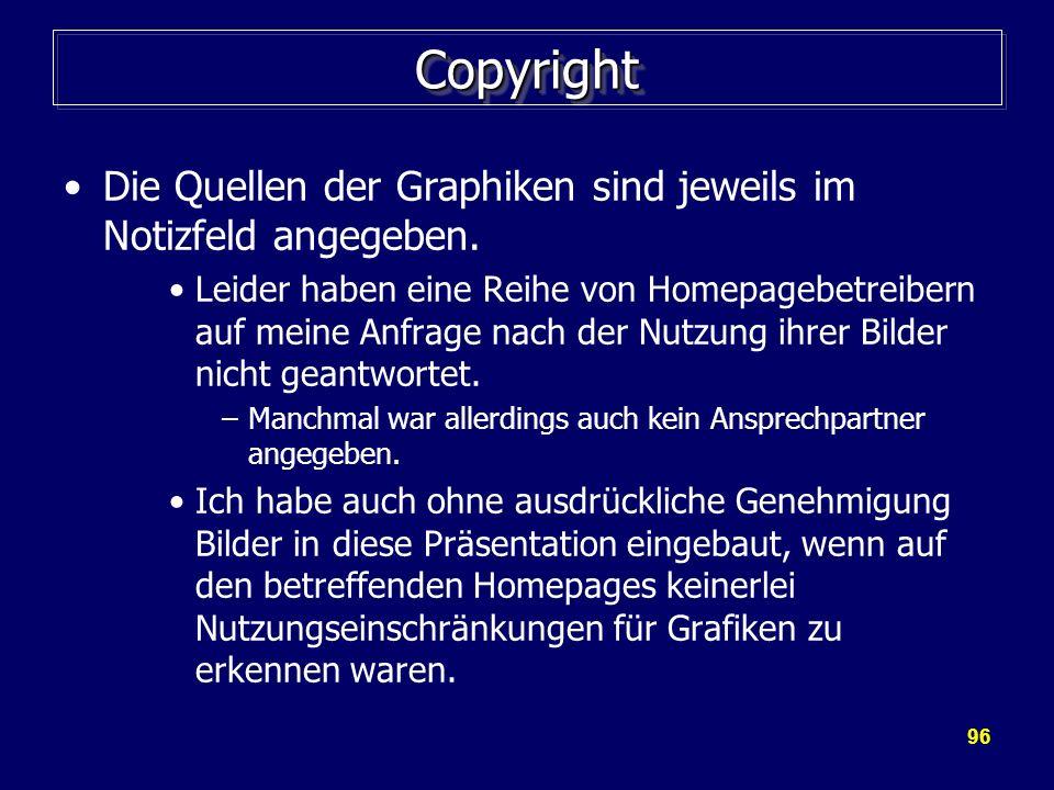 Copyright Die Quellen der Graphiken sind jeweils im Notizfeld angegeben.