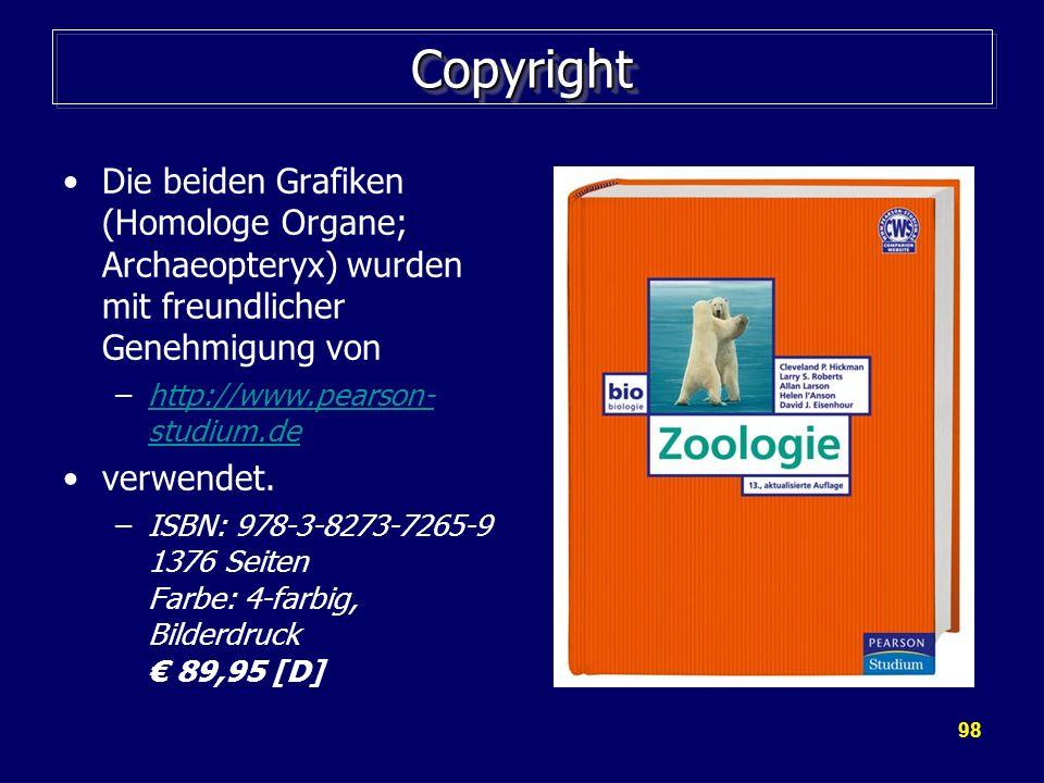 Copyright Die beiden Grafiken (Homologe Organe; Archaeopteryx) wurden mit freundlicher Genehmigung von.