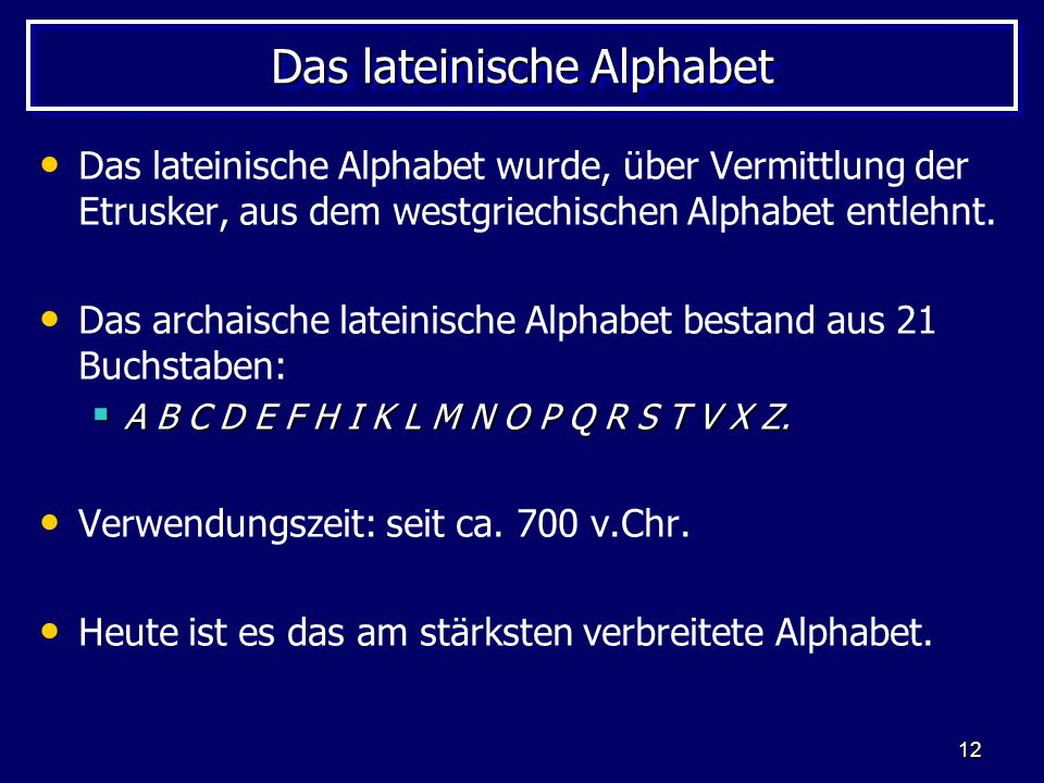 Das lateinische Alphabet