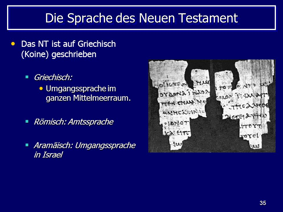 Die Sprache des Neuen Testament