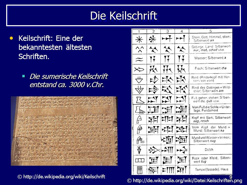 Die Keilschrift Keilschrift: Eine der bekanntesten ältesten Schriften.