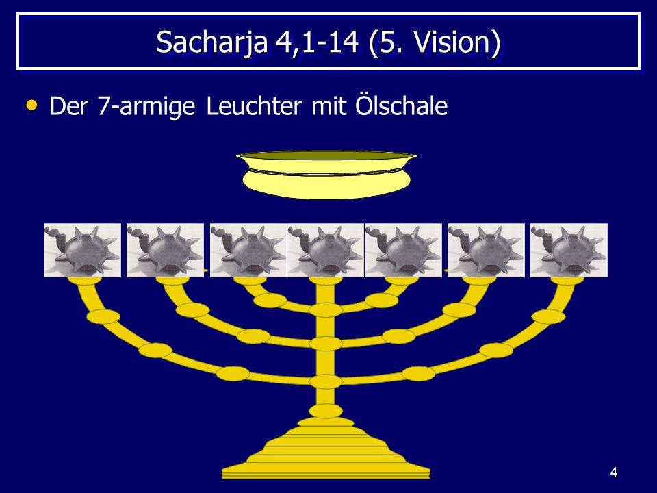 Sacharja 4,1-14 (5. Vision) Der 7-armige Leuchter mit Ölschale