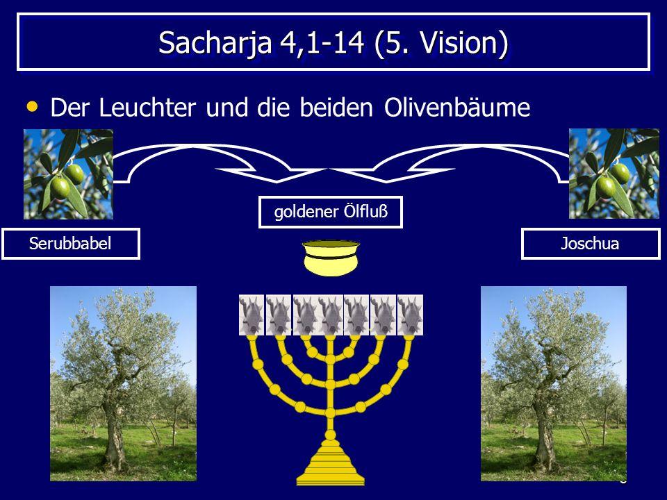 Sacharja 4,1-14 (5. Vision) Der Leuchter und die beiden Olivenbäume