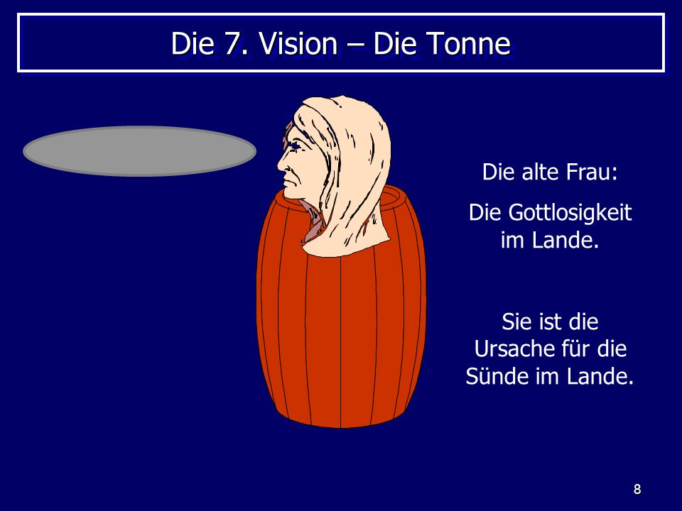 Die 7. Vision – Die Tonne Die alte Frau: Die Gottlosigkeit im Lande.