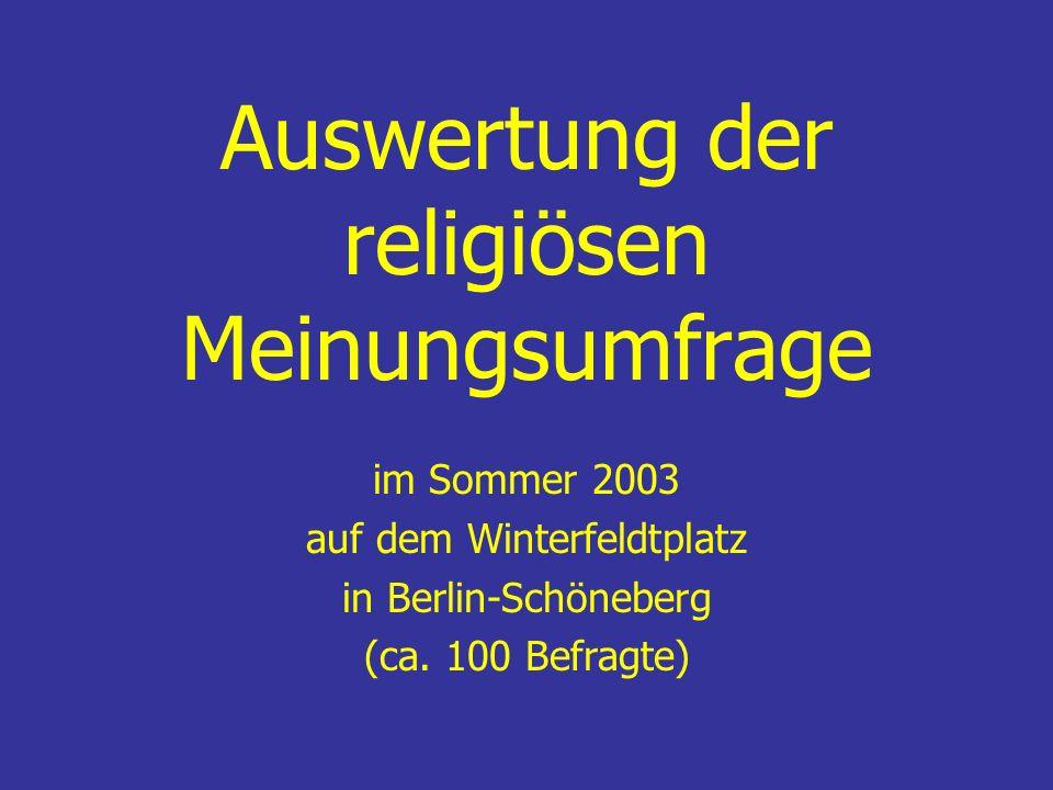 Auswertung der religiösen Meinungsumfrage