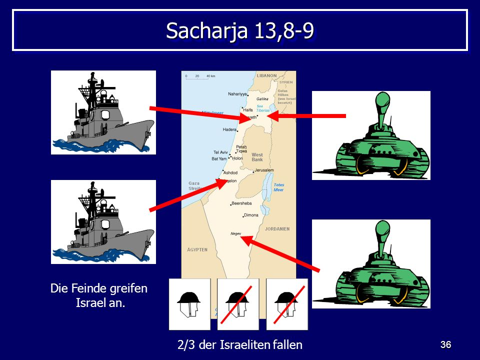 Sacharja 13,8-9 Die Feinde greifen Israel an.