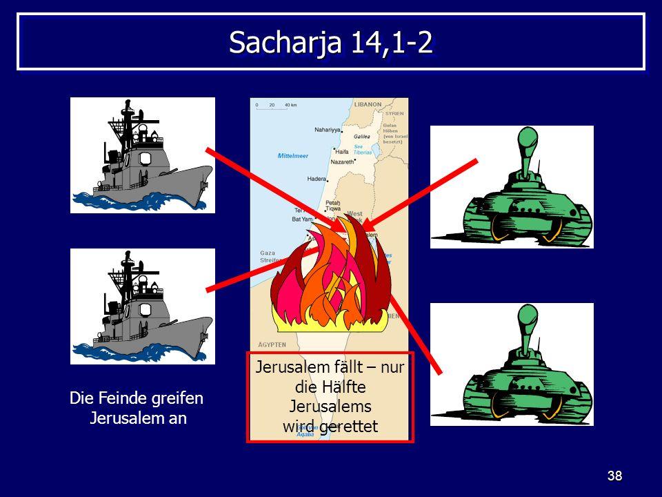 Sacharja 14,1-2 Jerusalem fällt – nur die Hälfte Jerusalems wird gerettet.