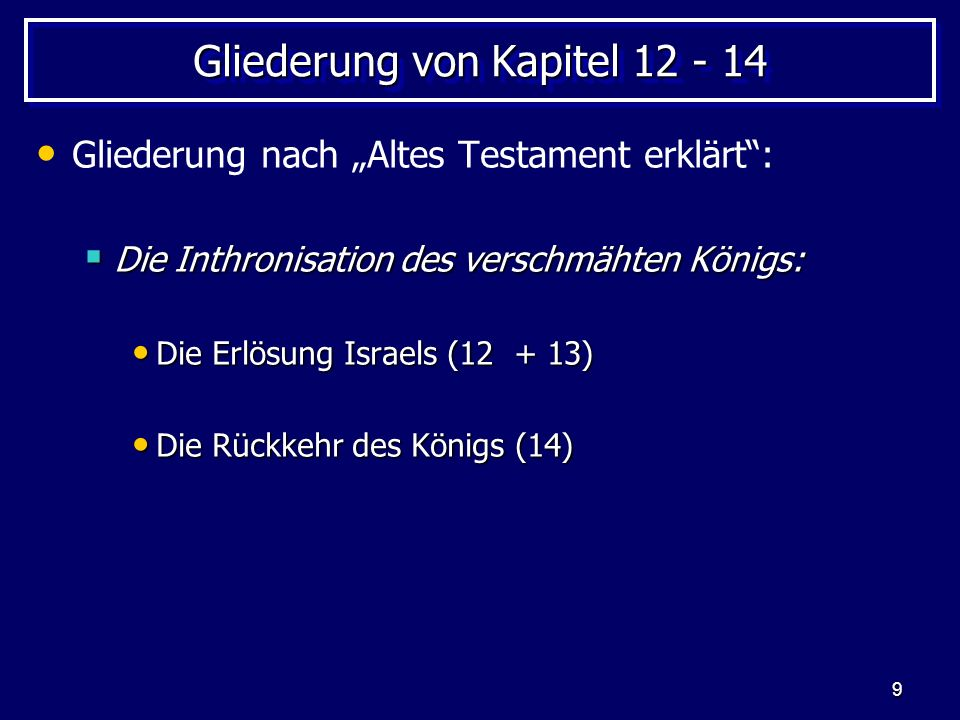 Gliederung von Kapitel 12 - 14