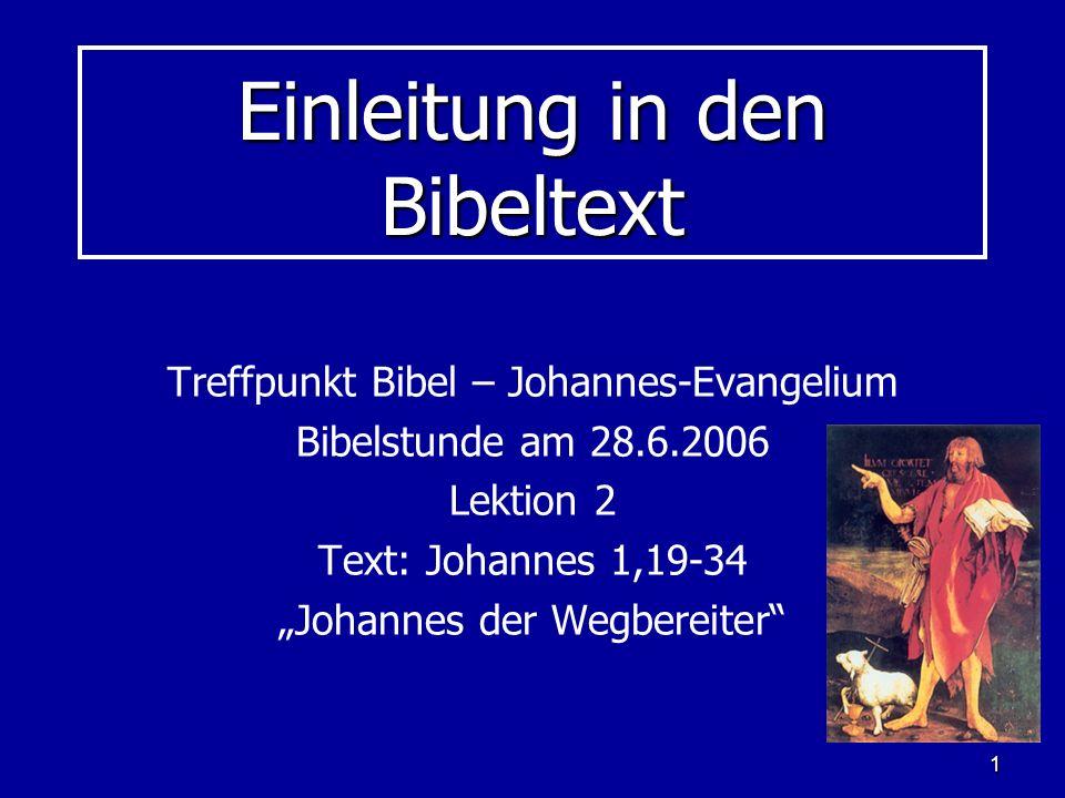 Einleitung in den Bibeltext