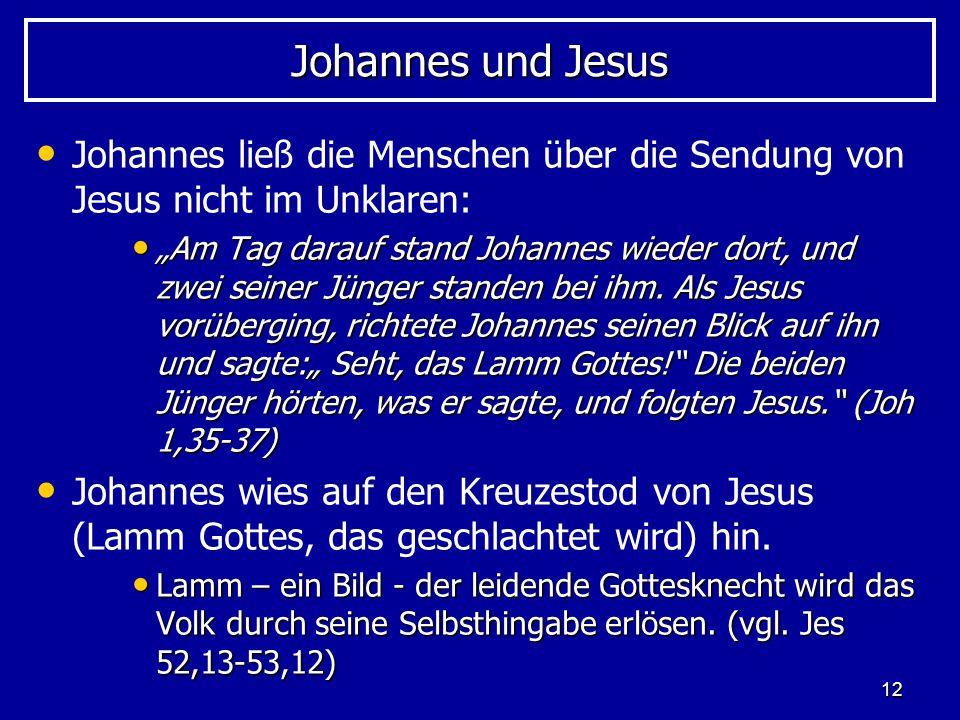 Johannes und Jesus Johannes ließ die Menschen über die Sendung von Jesus nicht im Unklaren: