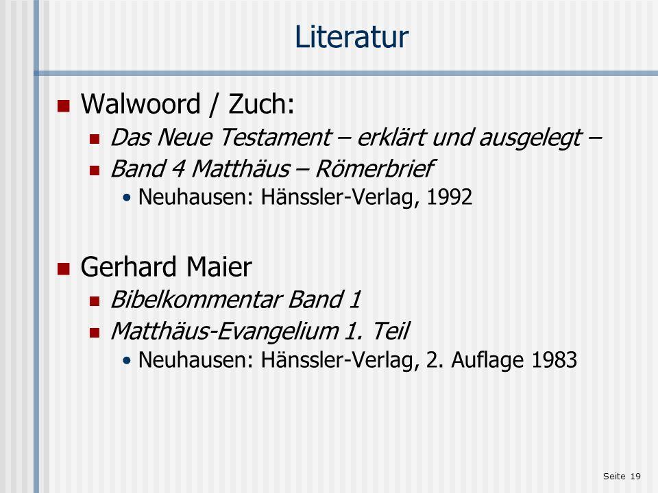 Literatur Walwoord / Zuch: Gerhard Maier