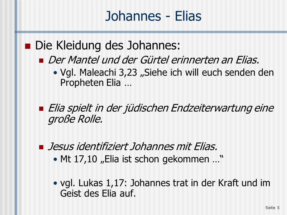 Johannes - Elias Die Kleidung des Johannes: