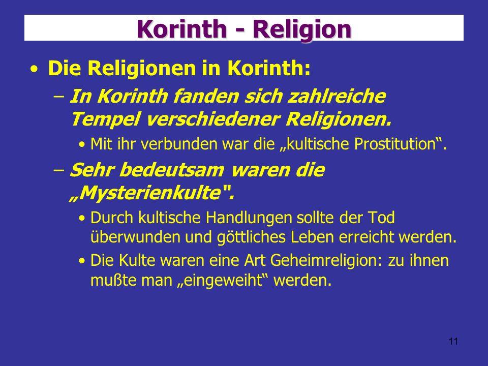 Korinth - Religion Die Religionen in Korinth: