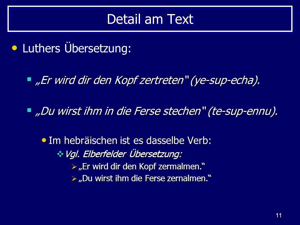 Detail am Text Luthers Übersetzung: