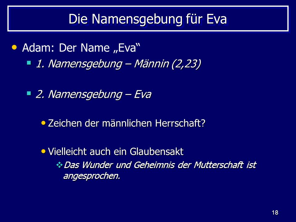 Die Namensgebung für Eva