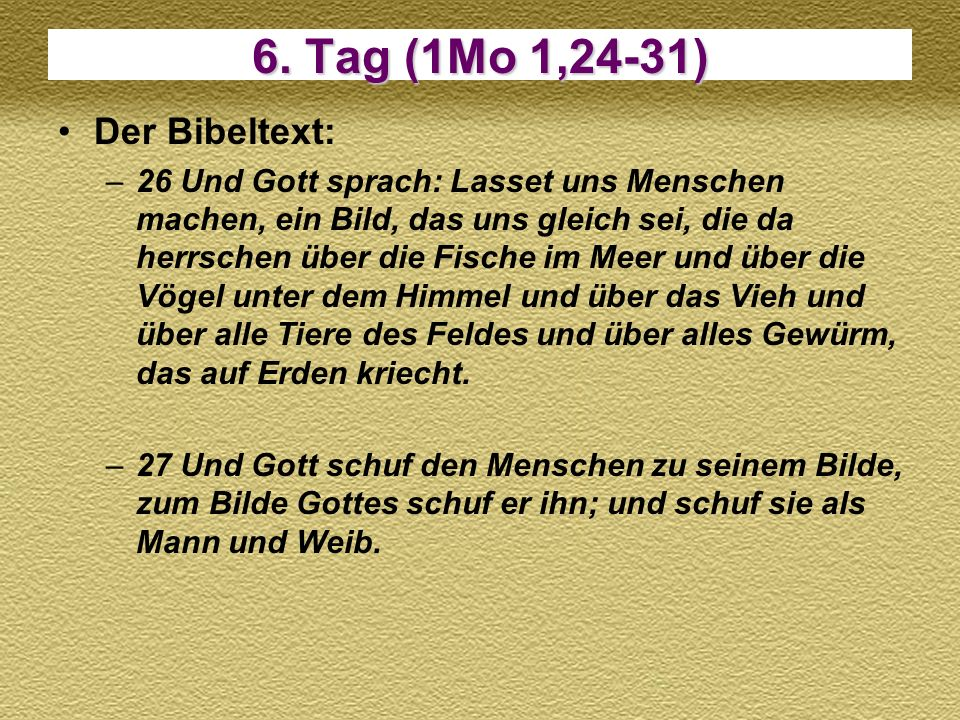 6. Tag (1Mo 1,24-31) Der Bibeltext:
