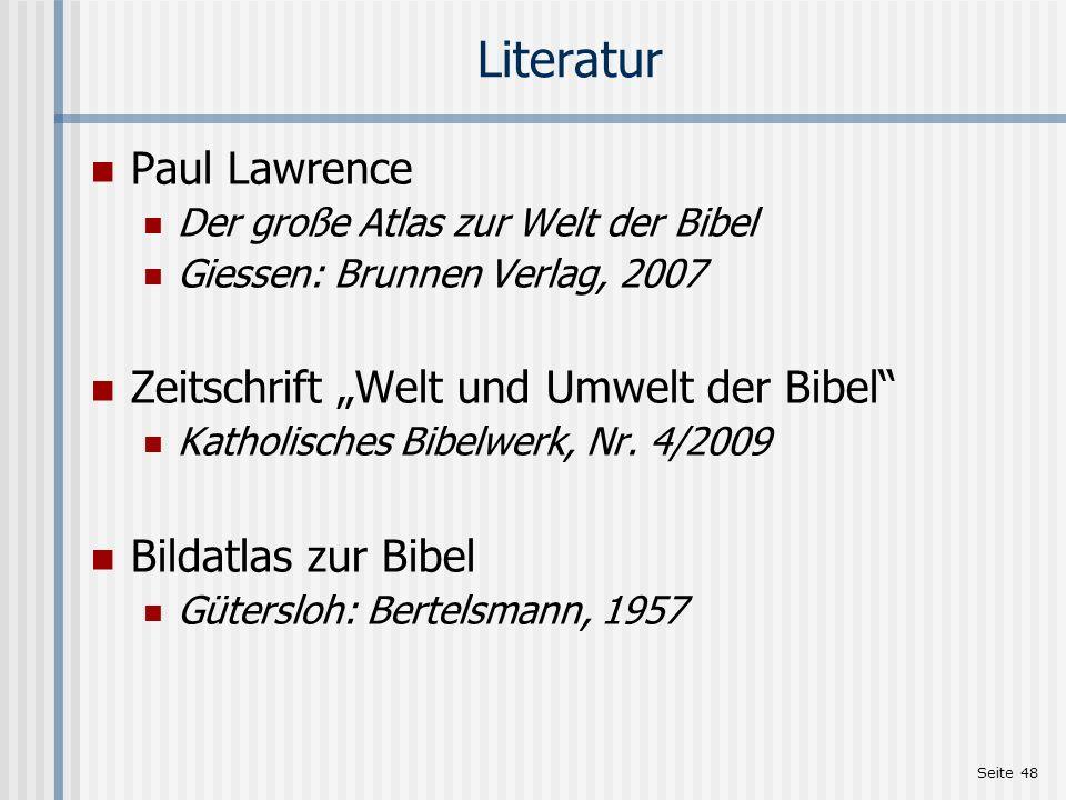 """Literatur Paul Lawrence Zeitschrift """"Welt und Umwelt der Bibel"""