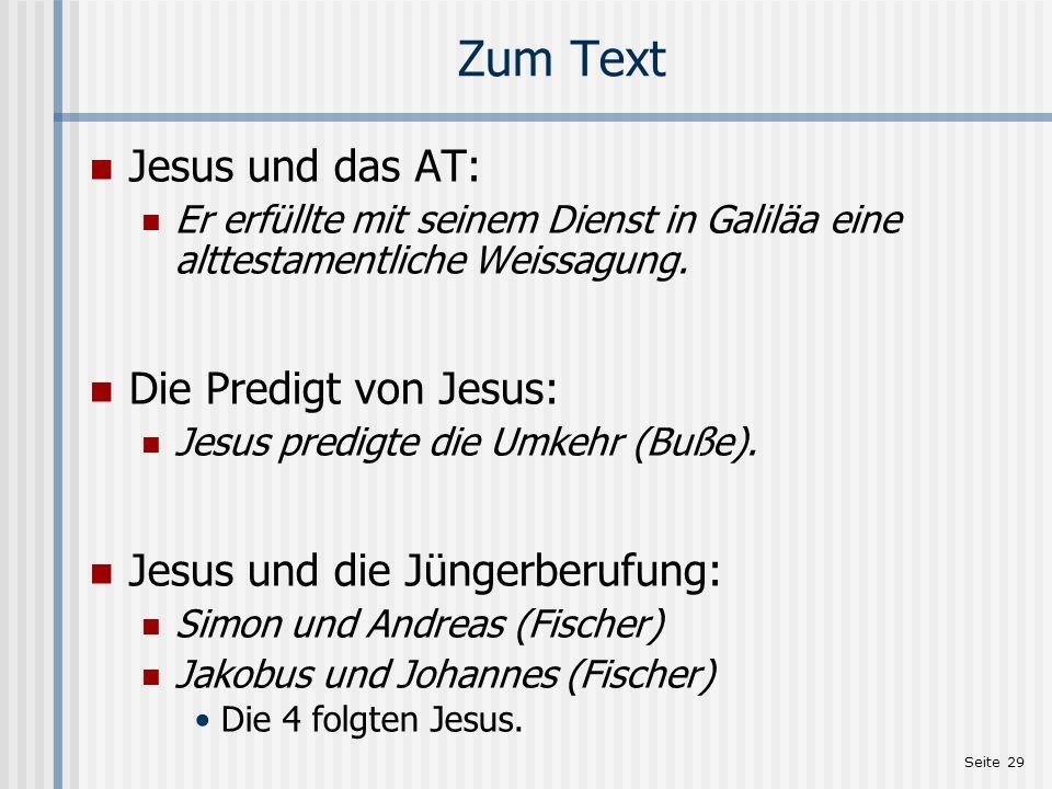 Zum Text Jesus und das AT: Die Predigt von Jesus: