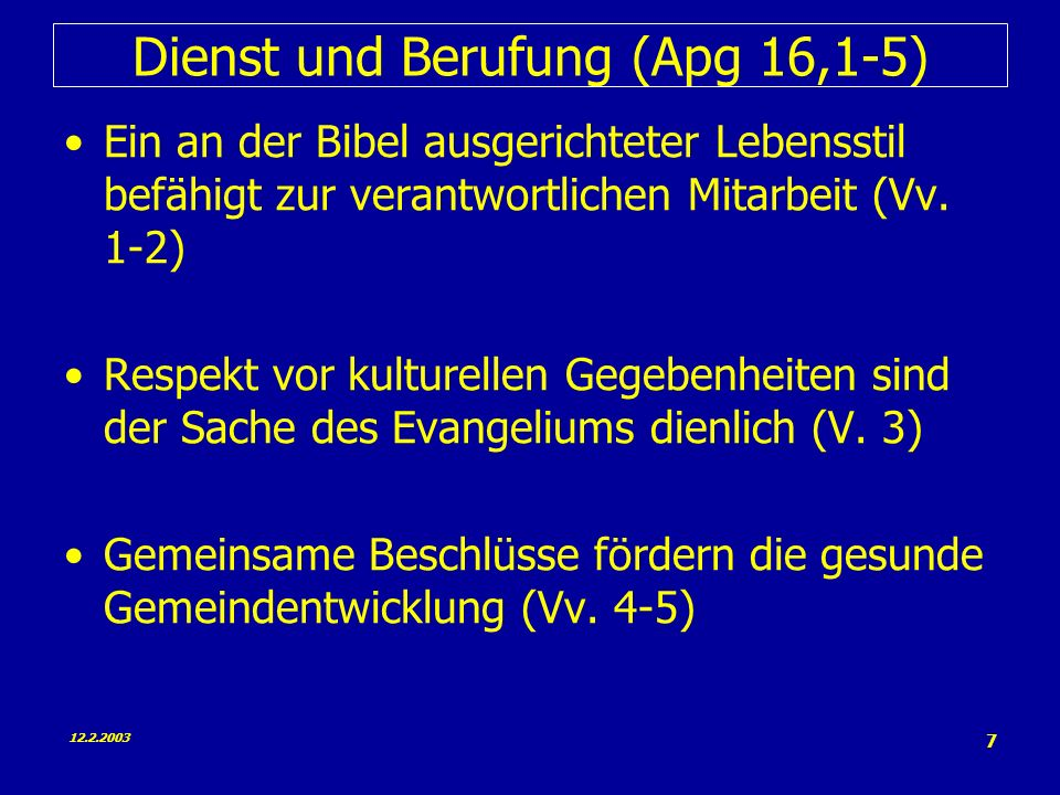 Dienst und Berufung (Apg 16,1-5)
