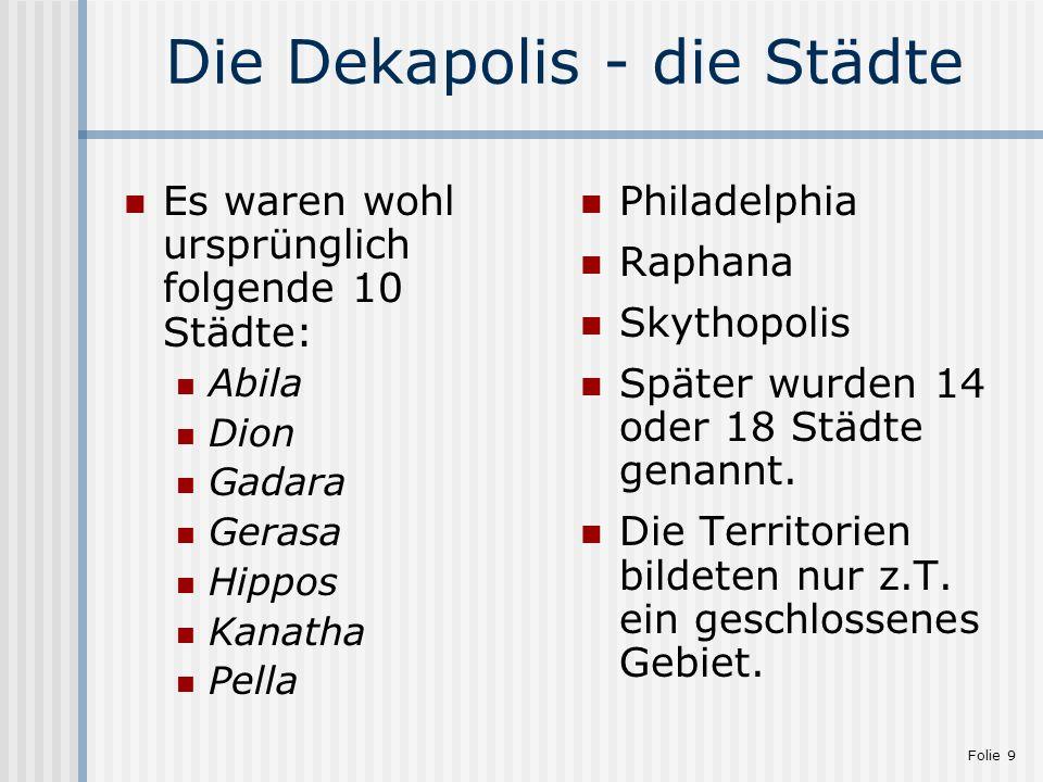 Die Dekapolis - die Städte