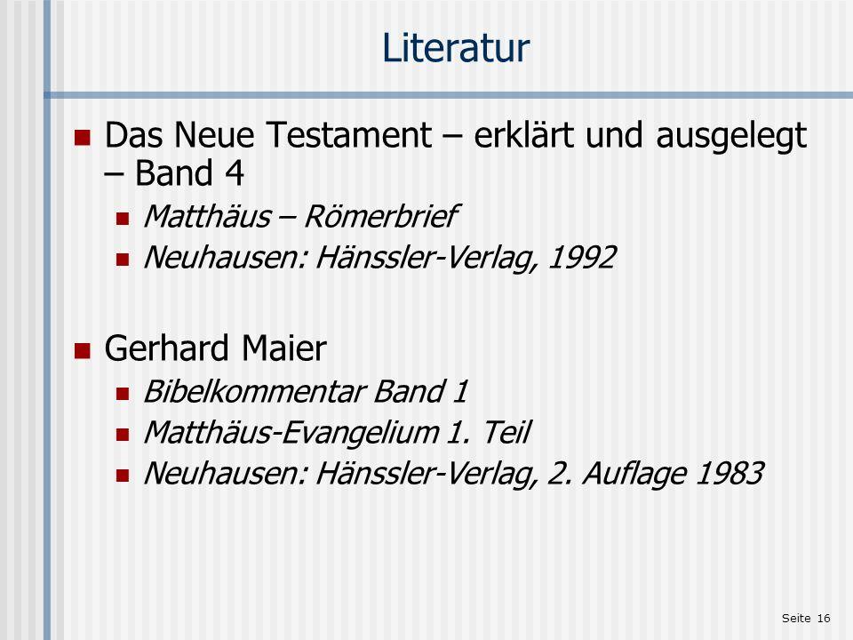 Literatur Das Neue Testament – erklärt und ausgelegt – Band 4