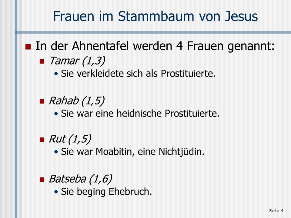 Frauen im Stammbaum von Jesus