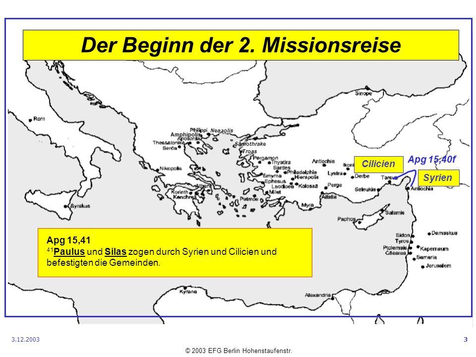 Der Beginn der 2. Missionsreise