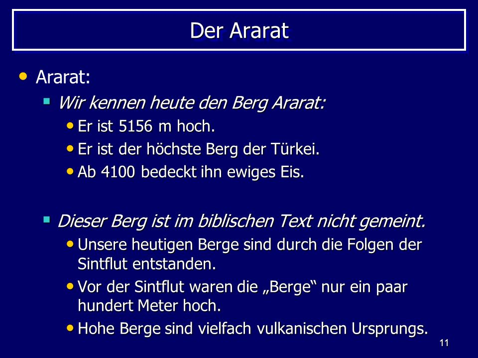 Der Ararat Ararat: Wir kennen heute den Berg Ararat: