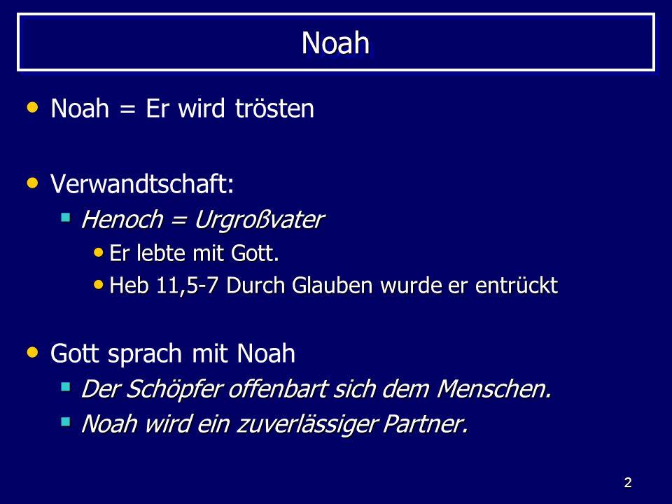 Noah Noah = Er wird trösten Verwandtschaft: Gott sprach mit Noah