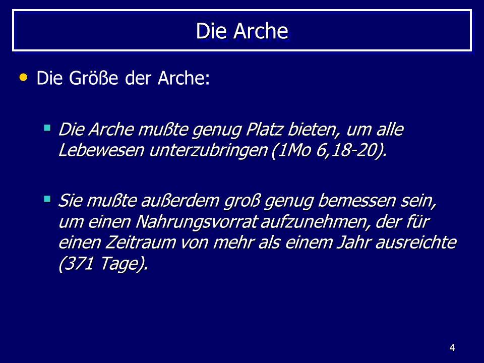 Die Arche Die Größe der Arche: