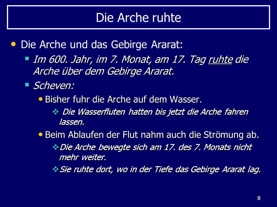 Die Arche ruhte Die Arche und das Gebirge Ararat: