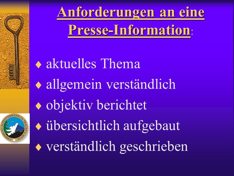 Anforderungen an eine Presse-Information:
